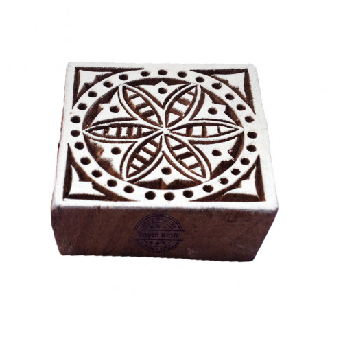Asian Square Floral Shape Wood Block Stamp