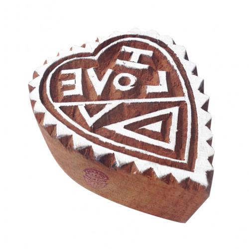 Popular Floral Heart Shape Wood Block Stamp