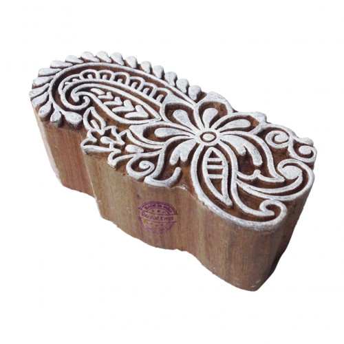 Artisan Traditional Flower Shape Wood Print Block