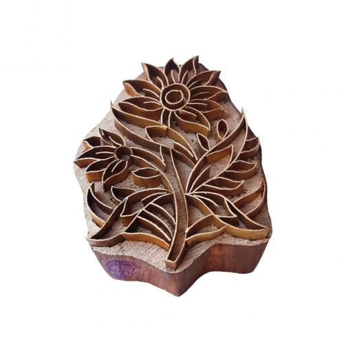 Beautiful Printing Block Brass Floral Shapes Wood Pottery Stamp