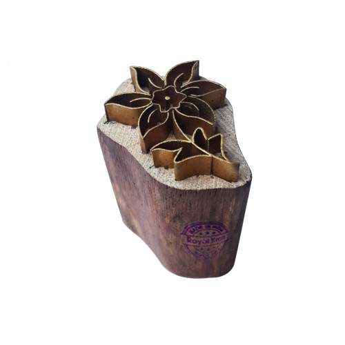 Artistic Printing Stamp Brass Floral Shapes Wooden Clay Block