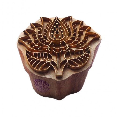 Trendy Printing Stamp Brass Lotus Shapes Wooden Clay Block