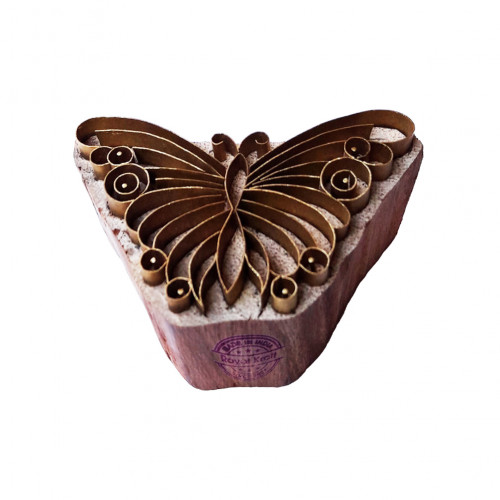 Attractive Printing Stamp Brass Butterfly Shapes Wooden Clay Block