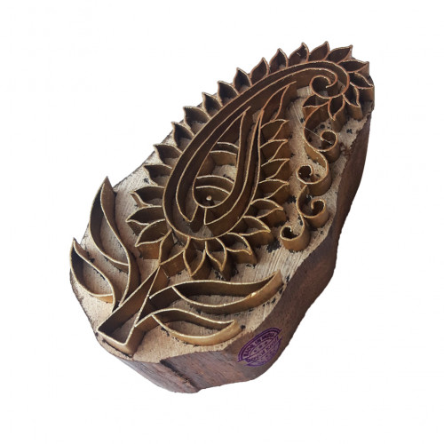 Decorative Printing Stamp Brass Paisley Shapes Wooden Clay Block