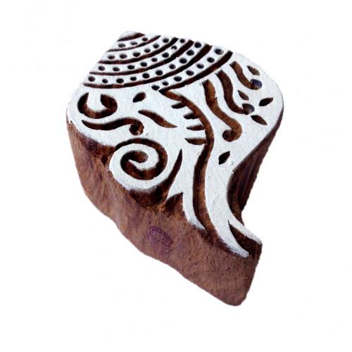 Jaipuri Printing Blocks Shell Shapes Wooden Stamps
