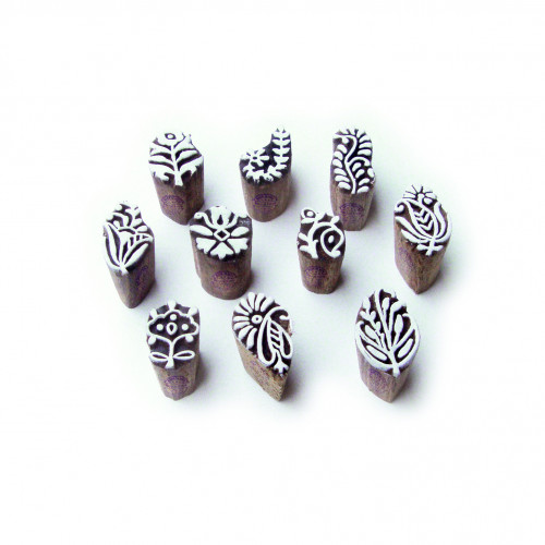 (Set of 10) Assorted and Floral Elegant Designs Small Wooden Printing Stamps