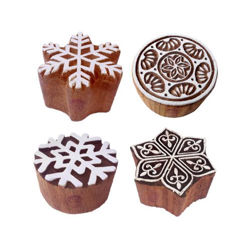 (Set of 4) Paper Printing Stamps Creative Round Snowflake Design Wood Blocks