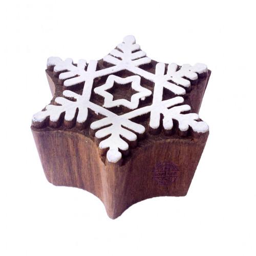 Classy Printing Stamps Snowflake Motif Wooden Blocks