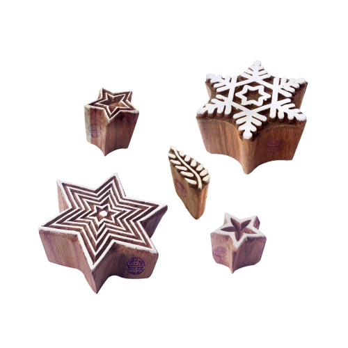 (Set of 5) Ornate Pattern Star and Snowflake Wood Block Stamps