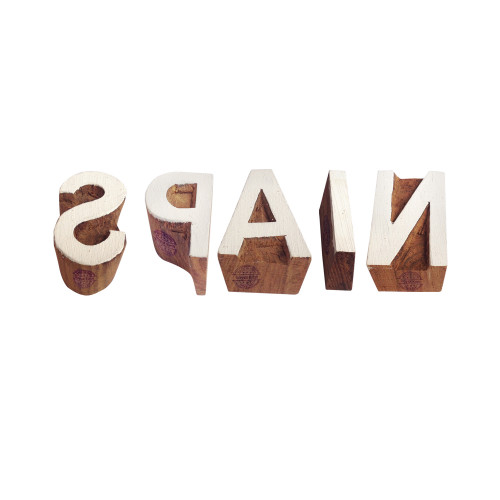 (Set of 5) Country Wooden Stamps Decorative Letter Spain Pattern Printing Blocks