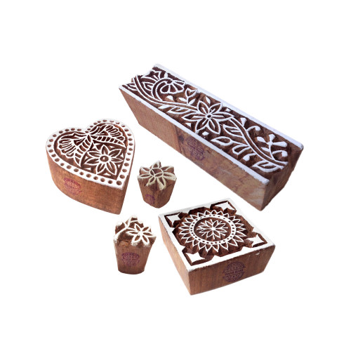 (Set of 5) Exquisite Designs Heart and Square Wood Print Stamps