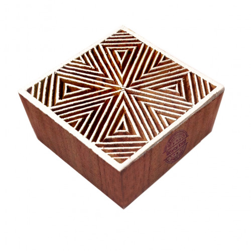 Attractive Geometric Pattern Square Wooden Block Stamp