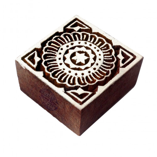 Indian Floral Pattern Square Wooden Printing Block