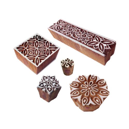 (Set of 5) Beautiful Designs Border and Square Wooden Printing Blocks