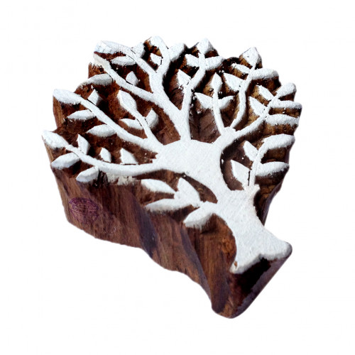 Elegant Floral Design Elm Tree Wooden Stamp for Block Printing