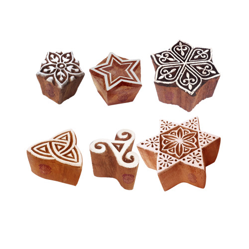 (Set of 6) Pottery Print Blocks Handmade Star Design Wood Stamps