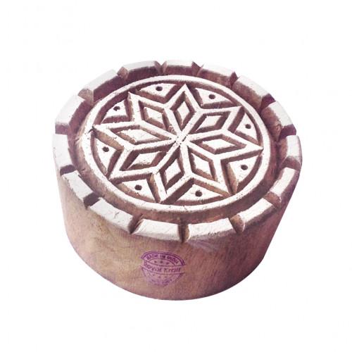 Artistic Wood Stamps Round Star Pattern Printing Blocks