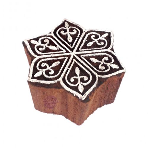 Intricate Wooden Stamps Star Pattern Printing Blocks