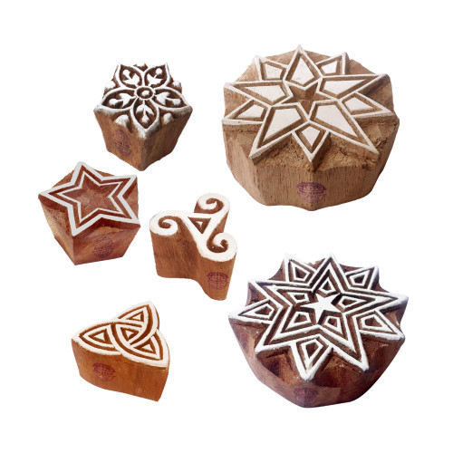 (Set of 6) Clay Print Stamps Indian Star Pattern Wood Blocks