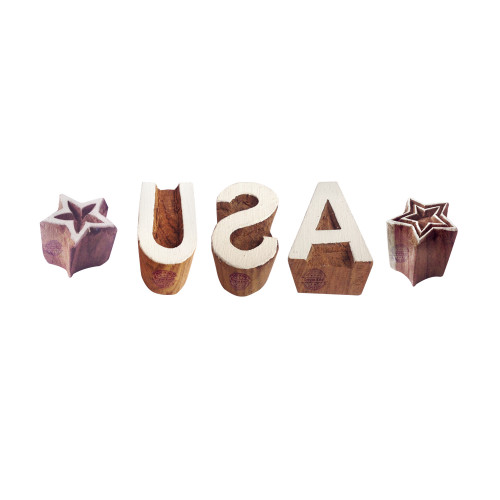 (Set of 5) Country Printing Stamps Designer USA Star Shape Wooden Blocks