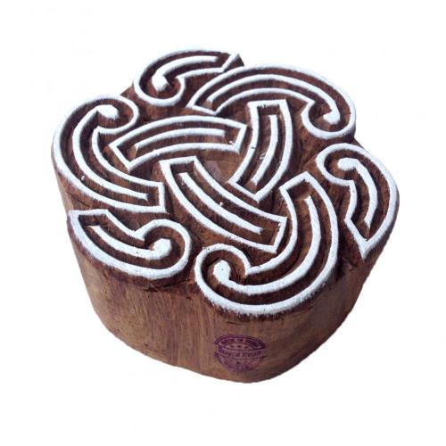 Henna Wooden Stamps Round Swirl Pattern Printing Blocks