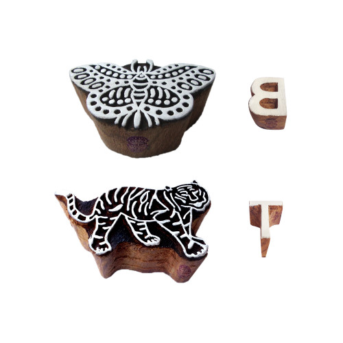 (Set of 4) Learning Wood Blocks Handmade Butterfly Tiger Shape Printing Stamps