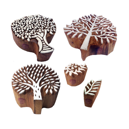 (Set of 5) Beautiful Designs Leaf and Tree Wood Print Stamps