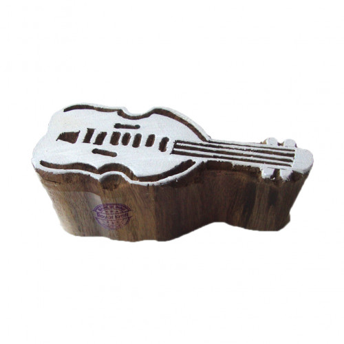 Retro Print Blocks Violin Designs Wooden Stamps