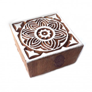 Traditional Square Flower Motif Wood Block for Printing