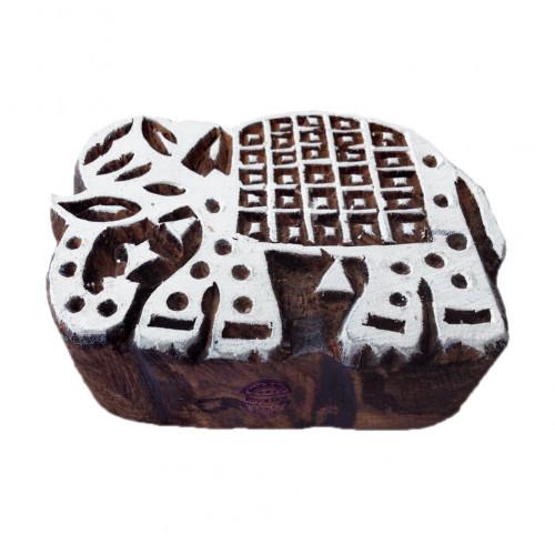 Creative Elephant Animal Motif Wood Block for Printing