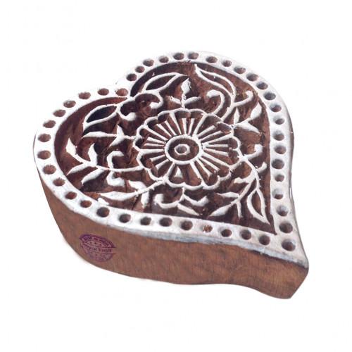 Trendy Floral Heart Motif Wood Block for Printing