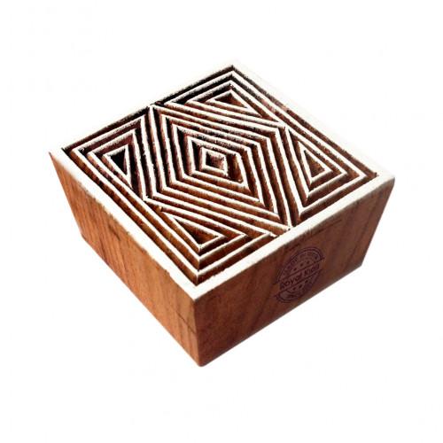 Decorative Square Geometric Motif Wood Block Print Stamp