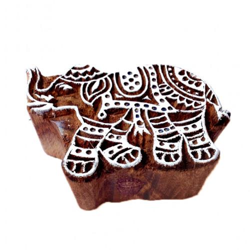 Decorative Elephant Animal Motif Wood Block Print Stamp