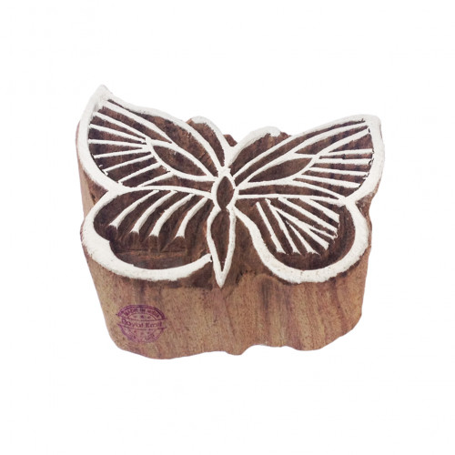 Classy Butterfly Insect Motif Wood Block Print Stamp