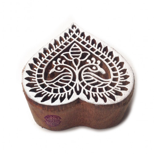 Creative Floral Heart Motif Wood Block Print Stamp