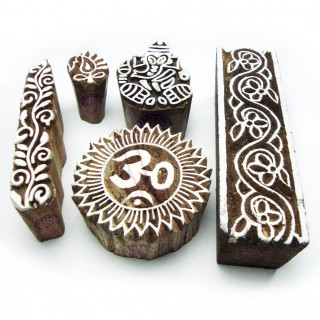 (Set of 5) Traditional Religious and Border Pattern Wood Block Print Stamps
