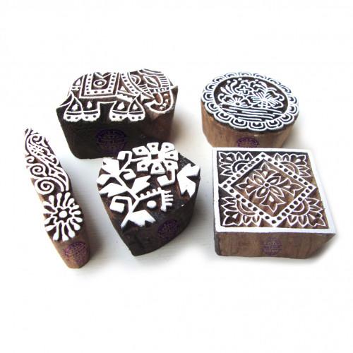 (Set of 5) Jaipuri Elephant and Floral Pattern Wood Block Print Stamps