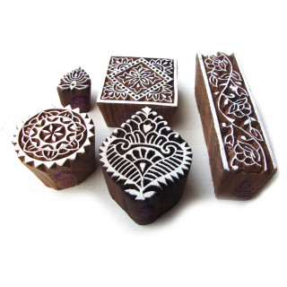 (Set of 5) Hand Carved Square and Border Pattern Wood Block Print Stamps