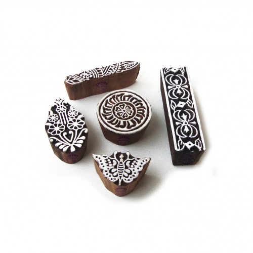 (Set of 5) Handmade Butterfly and Round Pattern Wood Block Print Stamps