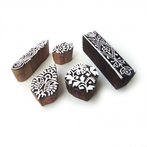 (Set of 5) Traditional Leaf and Floral Pattern Wood Block Print Stamps