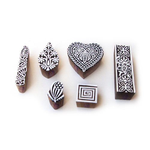 (Set of 6) Contemporary Heart and Spiral Pattern Wood Block Print Stamps