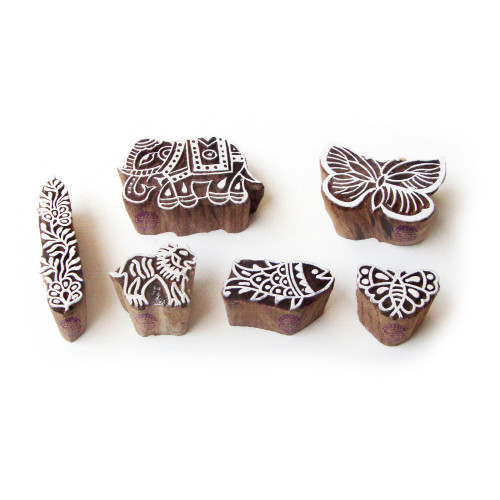 (Set of 6) Elephant and Butterfly Asian Pattern Wood Block Print Stamps