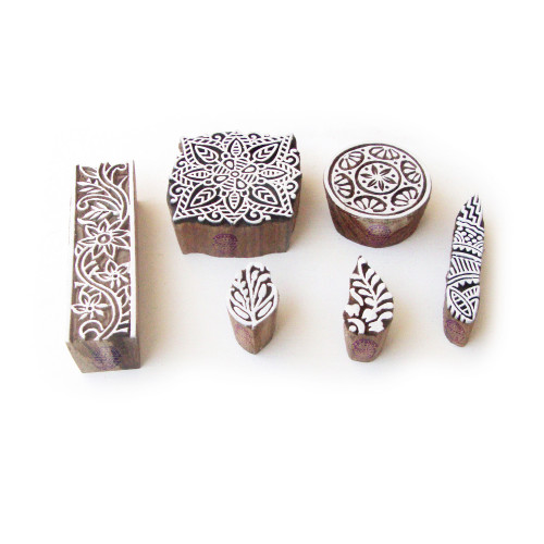 (Set of 6) Assorted and Floral Hand Made Pattern Wood Block Print Stamps