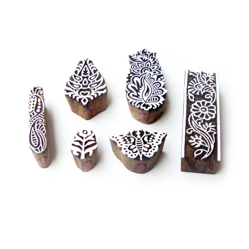 (Set of 6) Butterfly and Floral Jaipuri Pattern Wood Block Print Stamps