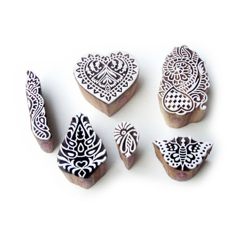 (Set of 6) Butterfly and Heart Ethnic Pattern Wood Block Print Stamps