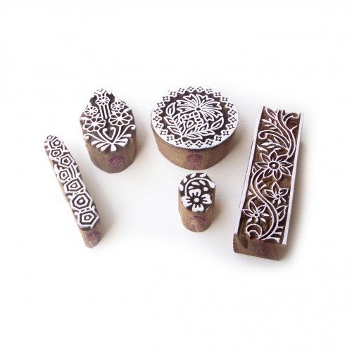 (Set of 5) Assorted and Floral Handmade Pattern Wood Block Print Stamps