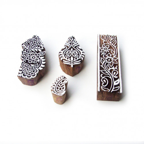 (Set of 4) Border and Floral Hand Carved Pattern Wood Block Print Stamps