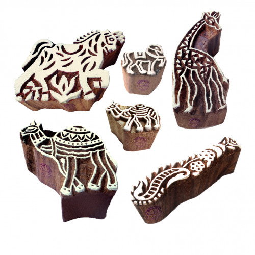 (Set of 6) Handmade Shapes Horse and Camel Wood Block Print Stamps