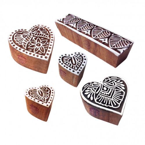 (Set of 5) Handcrafted Shapes Heart and Border Wood Block Print Stamps