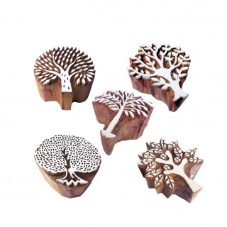 (Set of 5) Jaipuri Shapes Flower and Tree Wood Block Print Stamps